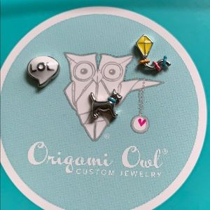 Origami Owl charm lot with dog, kite & lol charms